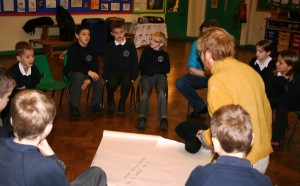 Pupils work with writer Dave wood