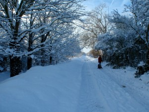 Littleborough Lane under snow